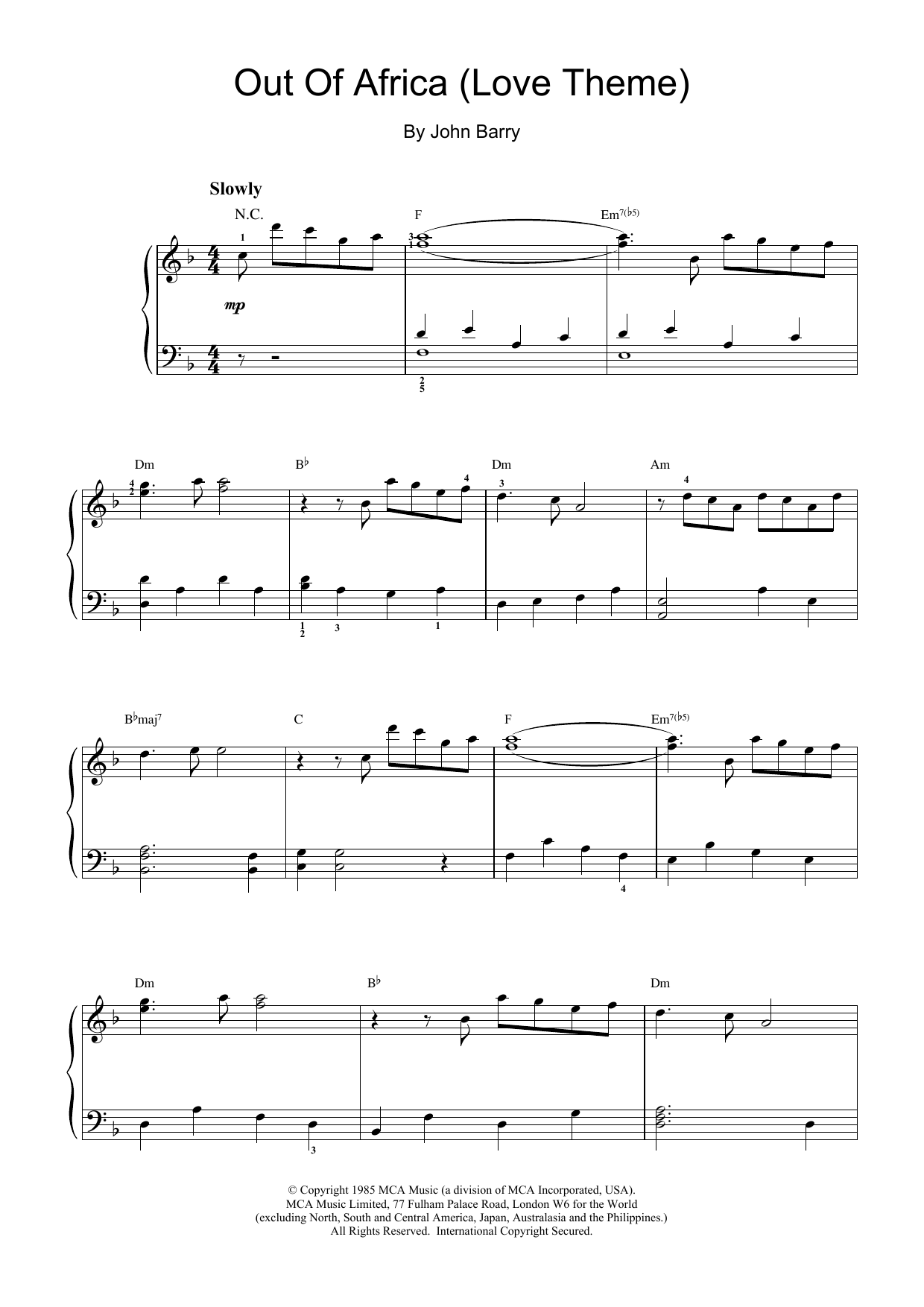 Out Of Africa (Love Theme) sheet music for piano solo by John Barry