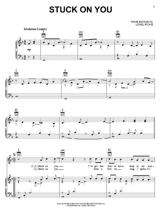 Partition piano Stuck On You de Lionel Richie - Piano Voix Guitare (Mélodie Main Droite)