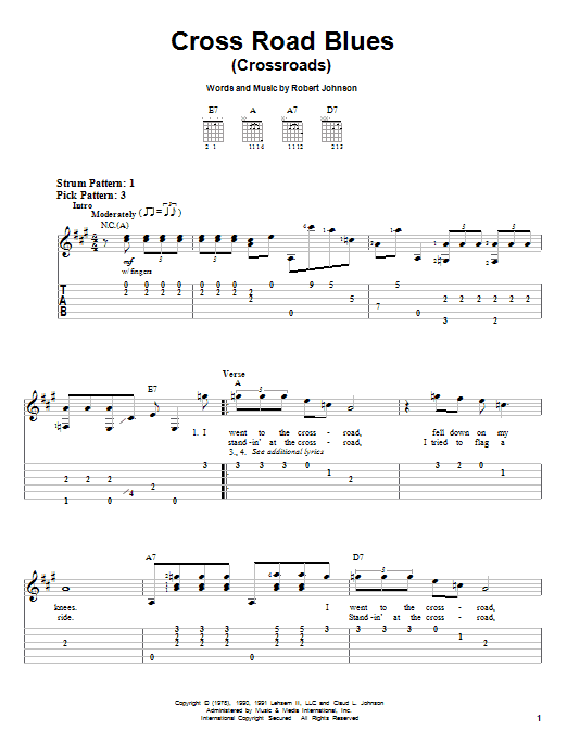 Tablature guitare Cross Road Blues (Crossroads) de Cream - Tablature guitare facile