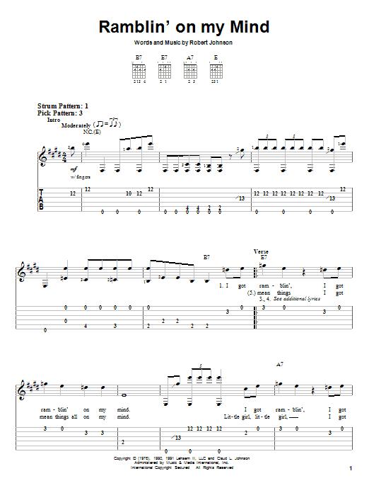 Tablature guitare Ramblin' On My Mind de Eric Clapton - Tablature guitare facile