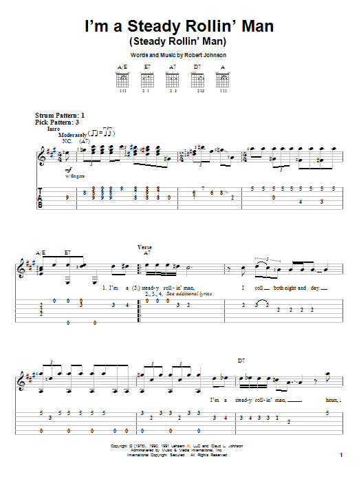 Tablature guitare I'm A Steady Rollin' Man (Steady Rollin' Man) de Eric Clapton - Tablature guitare facile