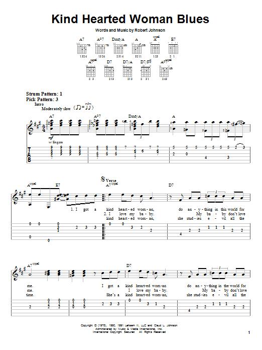 Tablature guitare Kind Hearted Woman Blues de Eric Clapton - Tablature guitare facile
