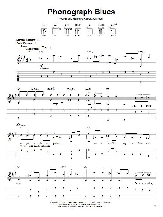 Tablature guitare Phonograph Blues de Robert Johnson - Tablature guitare facile