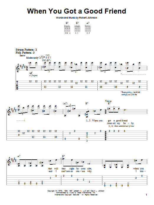 Tablature guitare When You Got A Good Friend de Robert Johnson - Tablature guitare facile