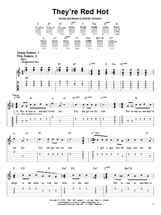 Tablature guitare They're Red Hot de Red Hot Chili Peppers - Tablature guitare facile
