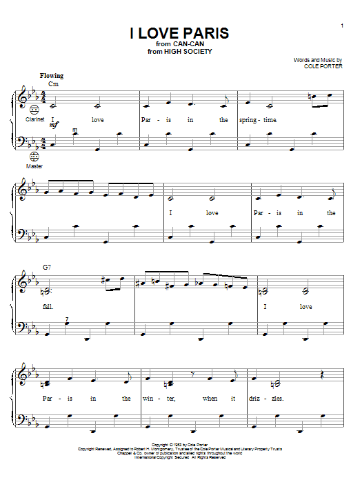 Partition autre I Love Paris de Cole Porter - Accordeon