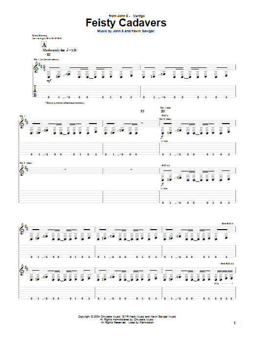 Tablature guitare Feisty Cadavers de John 5 - Tablature Guitare