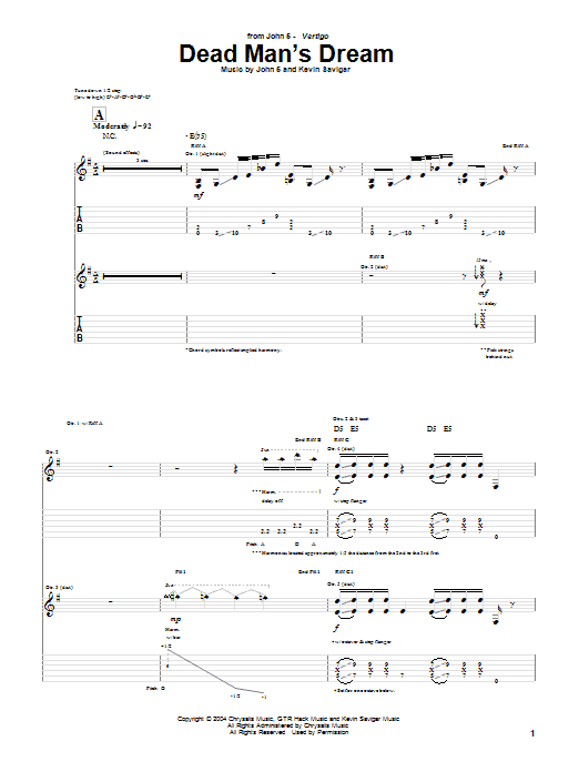 Tablature guitare Dead Man's Dream de John 5 - Tablature Guitare