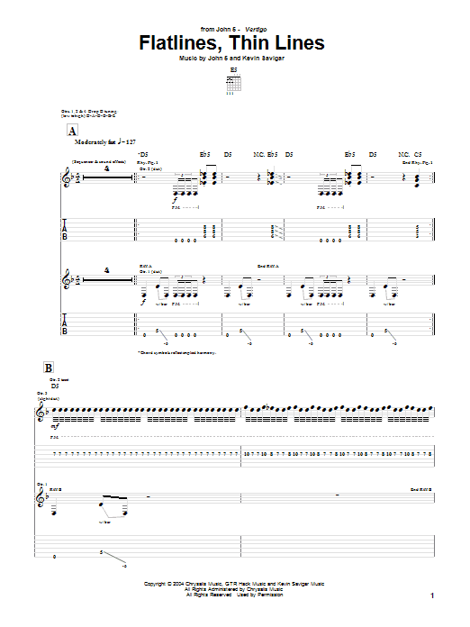Tablature guitare Flatlines, Thin Lines de John 5 - Tablature Guitare