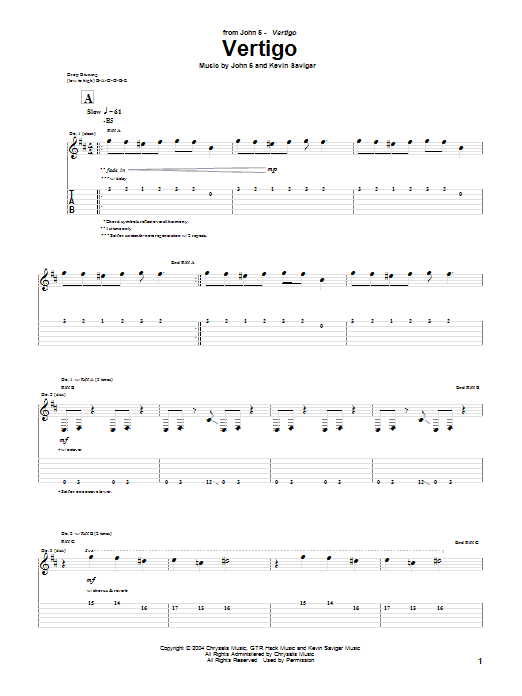 Vertigo sheet music for guitar solo (tablature) by Kevin Savigar