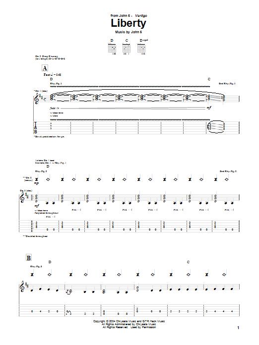 Tablature guitare Liberty de John 5 - Tablature Guitare