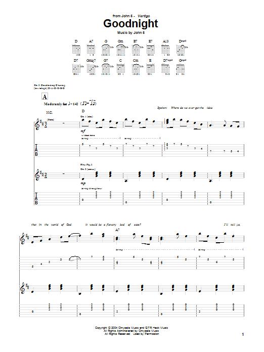 Tablature guitare Goodnight de John 5 - Tablature Guitare