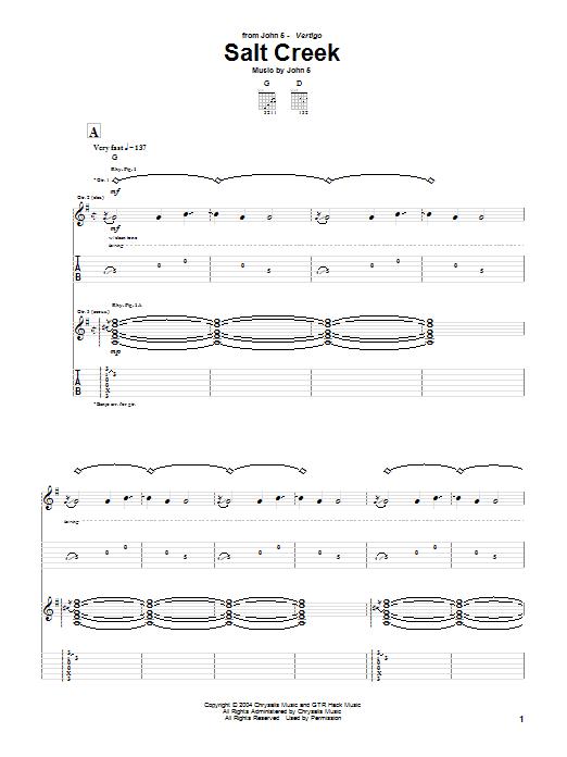 Tablature guitare Salt Creek de John 5 - Tablature Guitare
