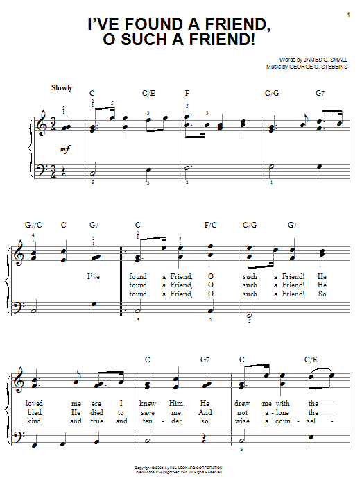 Partition piano I've Found A Friend, O Such A Friend! de James G. Small - Piano Facile