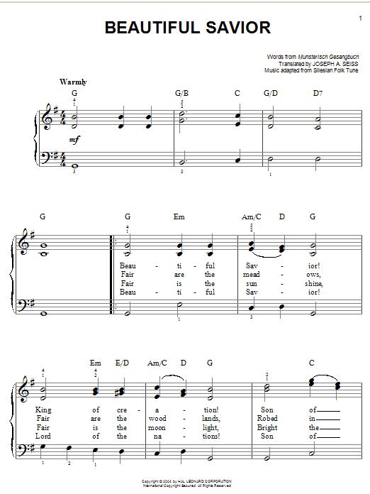 Partition piano Beautiful Savior de Joseph August Seiss - Piano Facile