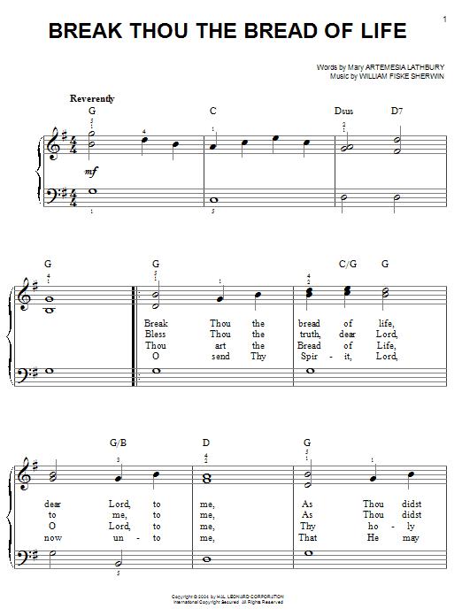 Partition piano Break Thou The Bread Of Life de Mary Artemesia Lathbury - Piano Facile
