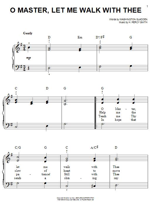 Partition piano O Master, Let Me Walk With Thee de Washington Gladden - Piano Facile
