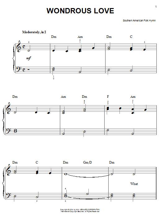 Partition piano Wondrous Love de Southern American Folk Hymn - Piano Facile