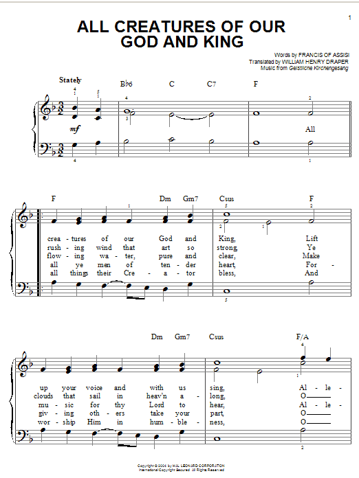 Partition piano All Creatures Of Our God And King de Francis of Assisi - Piano Facile