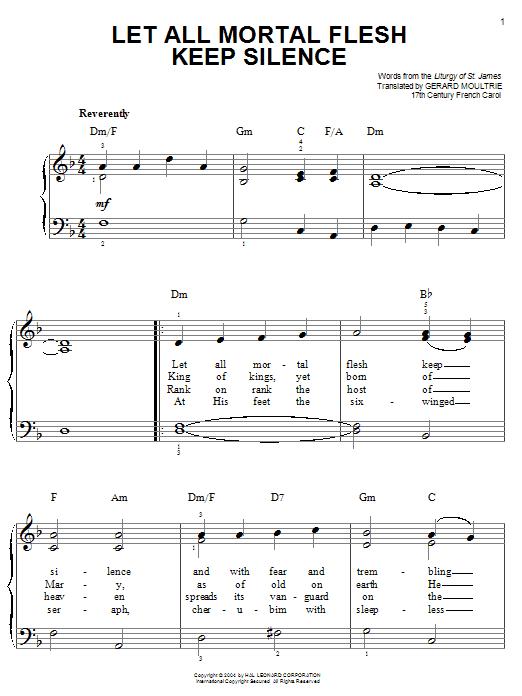 Partition piano Let All Mortal Flesh Keep Silence de Christmas Carol - Piano Facile