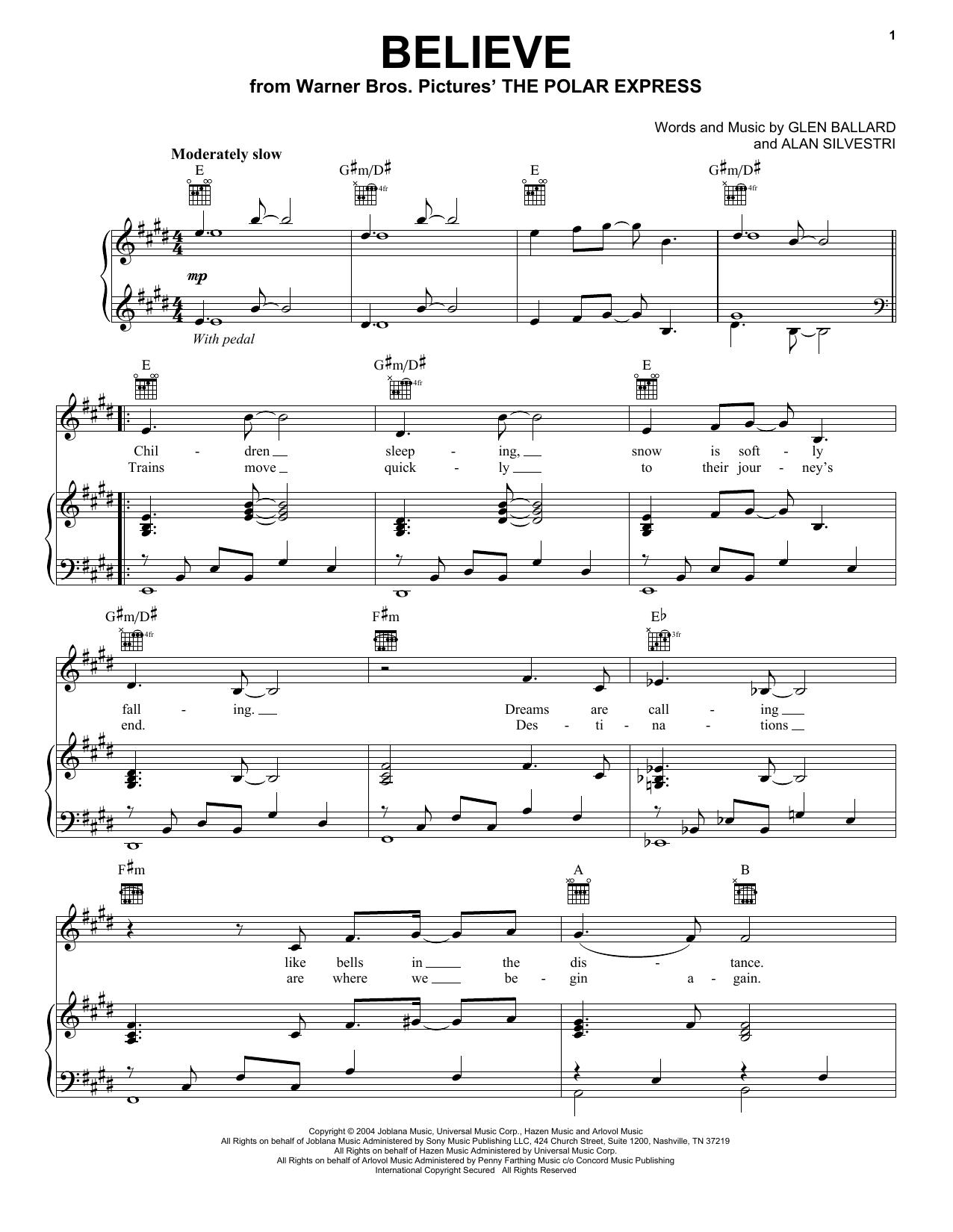 Partition piano Believe de Groban, Josh - Piano Voix Guitare (Mélodie Main Droite)