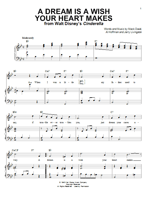 A Dream Is A Wish Your Heart Makes sheet music for voice and piano by Mack David