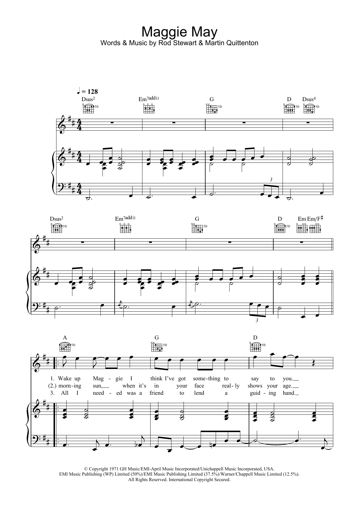 Maggie May sheet music for voice, piano or guitar by Martin Quittenton