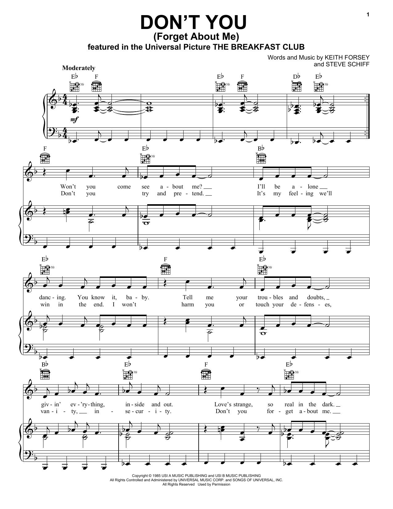 Partition piano Don't You (Forget About Me) de Simple Minds - Piano Voix Guitare (Mélodie Main Droite)