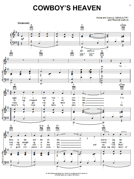 Cowboy's Heaven sheet music for voice, piano or guitar by Frankie Marvin