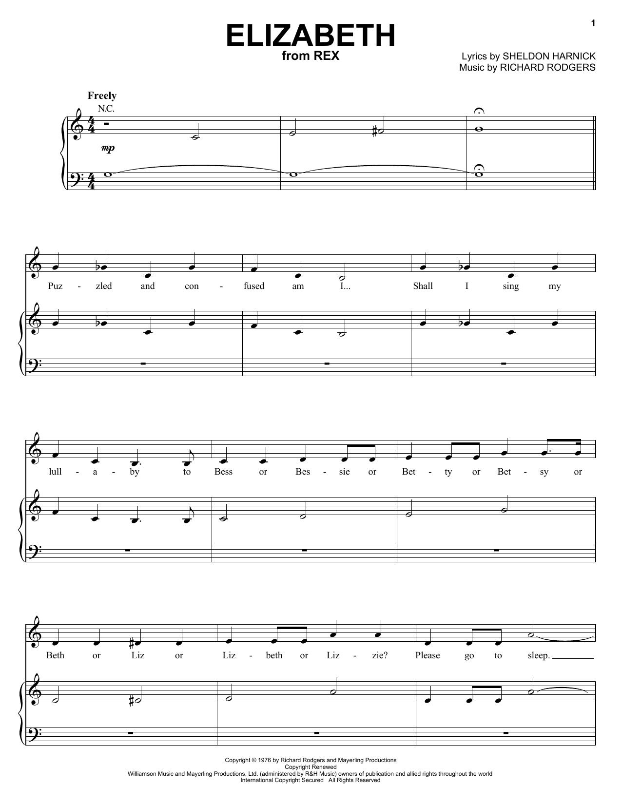 Partition piano Elizabeth de Sheldon Harnick - Piano Voix Guitare (Mélodie Main Droite)