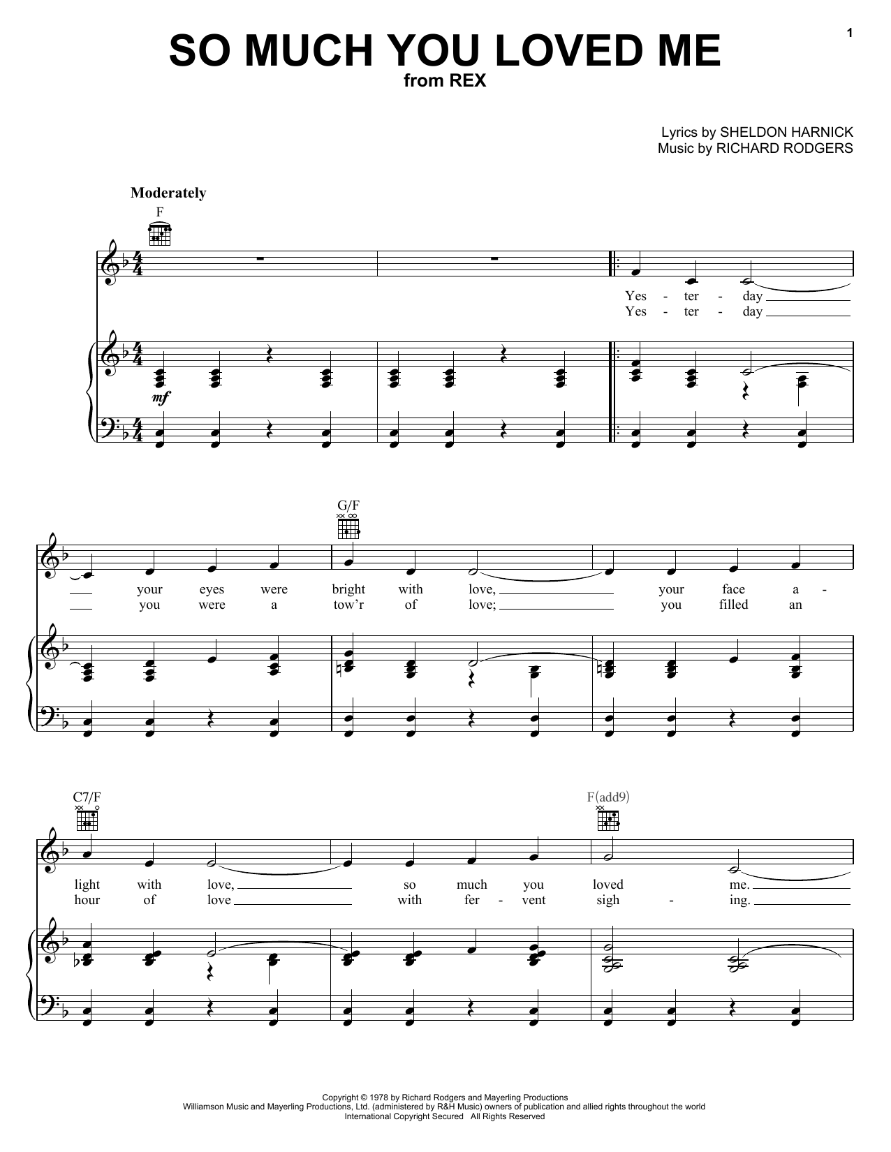 So Much You Loved Me sheet music for voice, piano or guitar by Sheldon Harnick