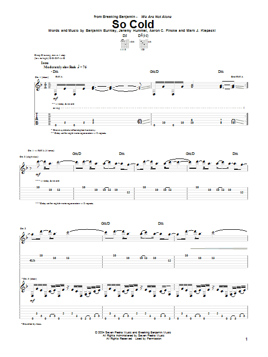 Tablature guitare So Cold de Breaking Benjamin - Tablature Guitare