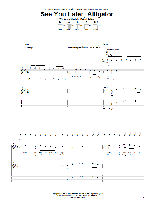Tablature guitare See You Later, Alligator de Bill Haley & His Comets - Tablature Guitare