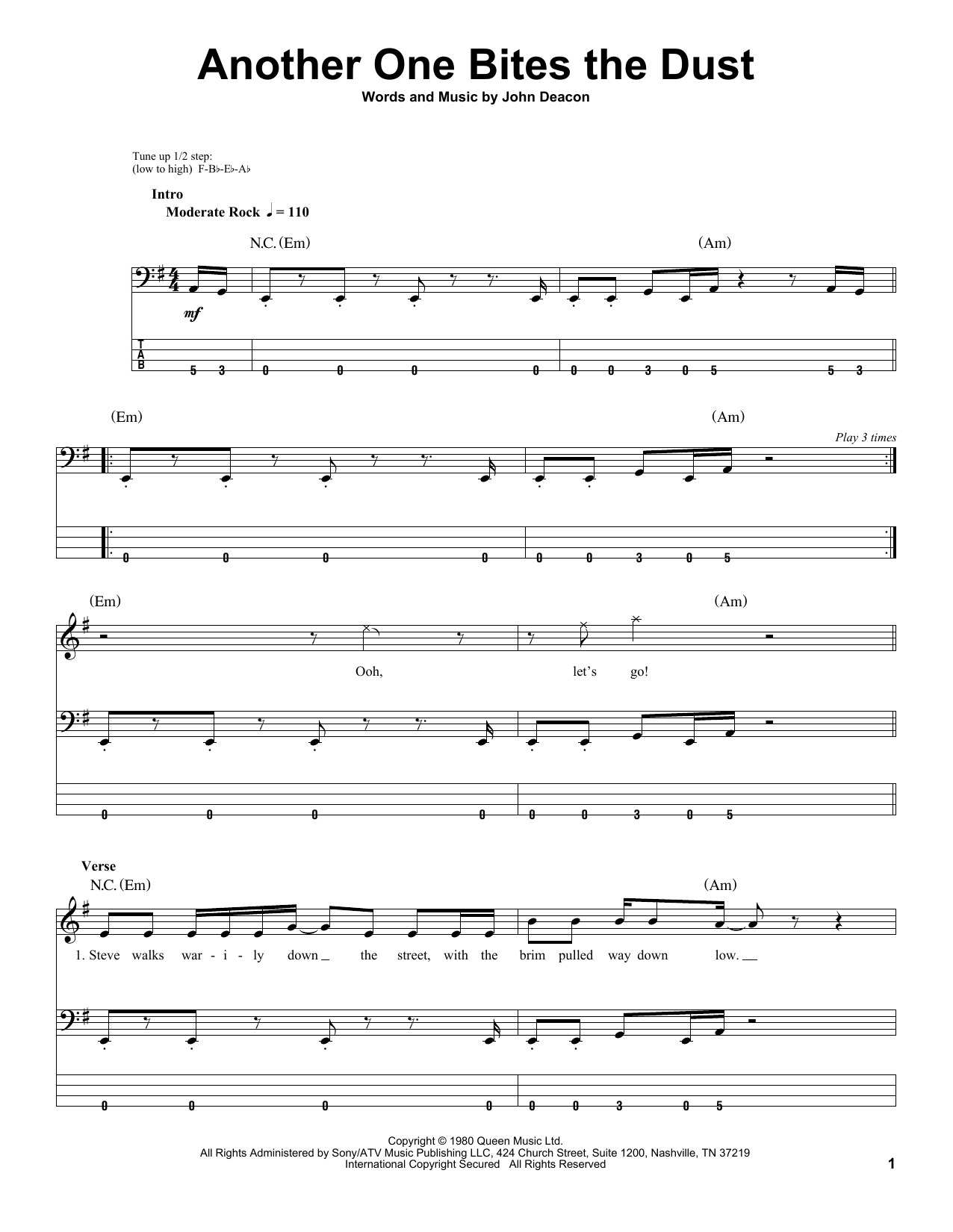 Another One Bites The Dust sheet music for bass (tablature) (bass guitar) by John Deacon
