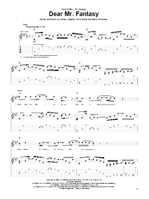 Dear Mr. Fantasy sheet music for guitar solo (tablature) by Steve Winwood