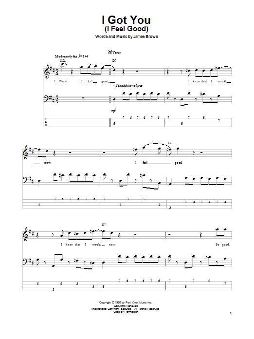 Tablature guitare I Got You (I Feel Good) de James Brown - Tablature Basse