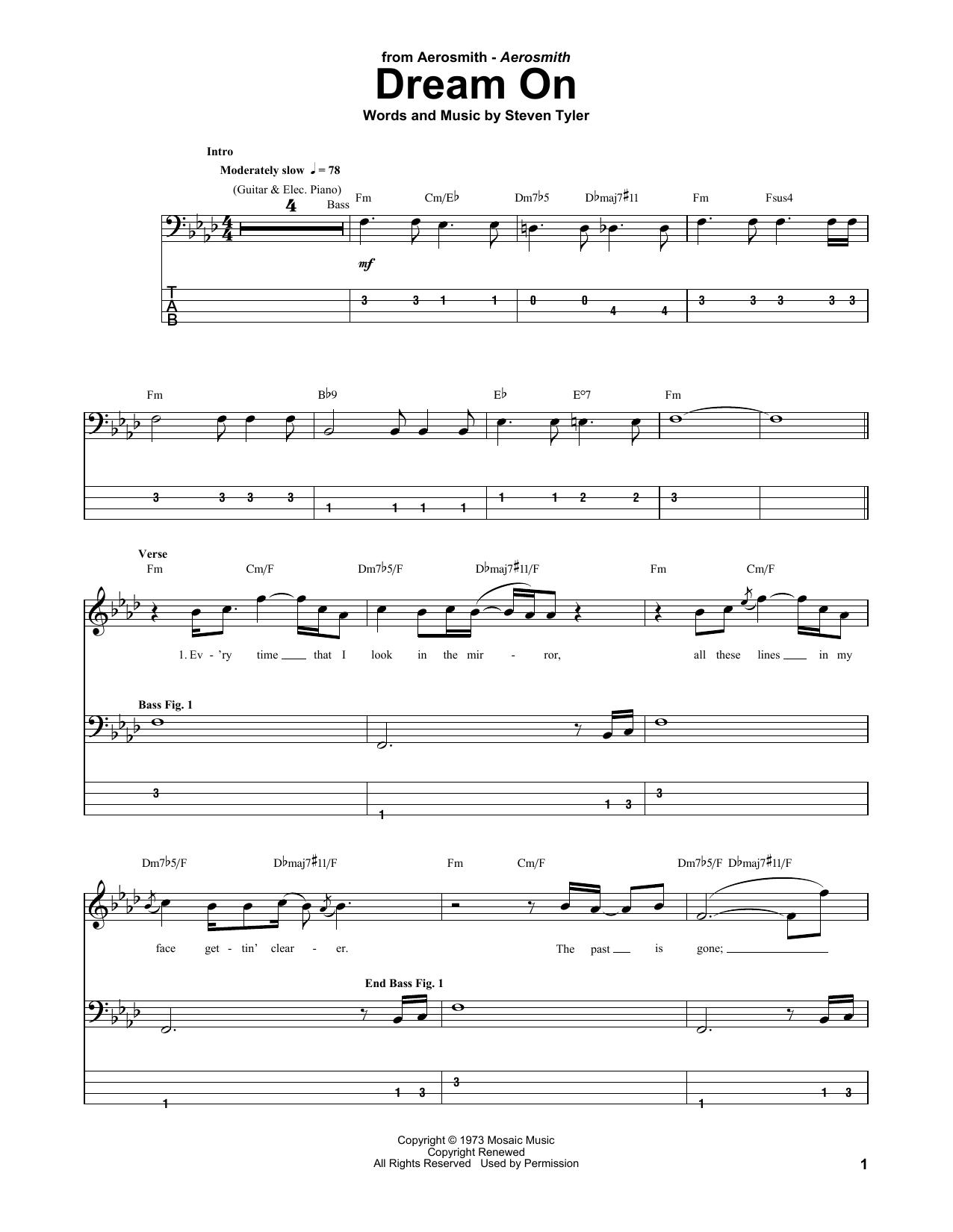 Dream On sheet music for bass (tablature) (bass guitar) by Steven Tyler