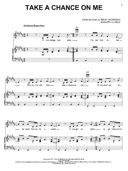 Partition piano Take A Chance On Me de ABBA - Piano Voix Guitare (Mélodie Main Droite)
