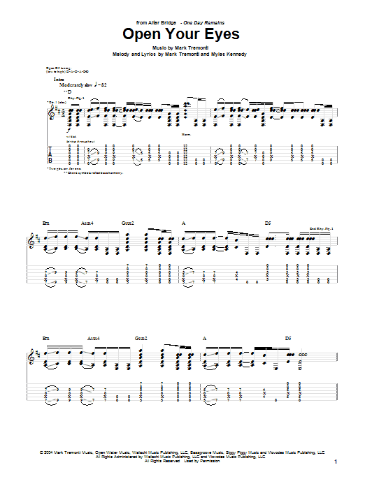 Open Your Eyes sheet music for guitar solo (tablature) by Myles Kennedy