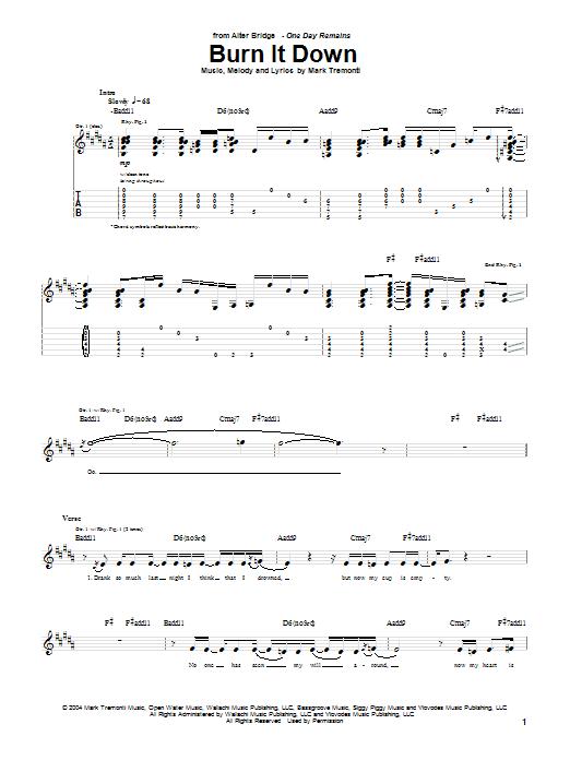 Tablature guitare Burn It Down de Alter Bridge - Tablature Guitare