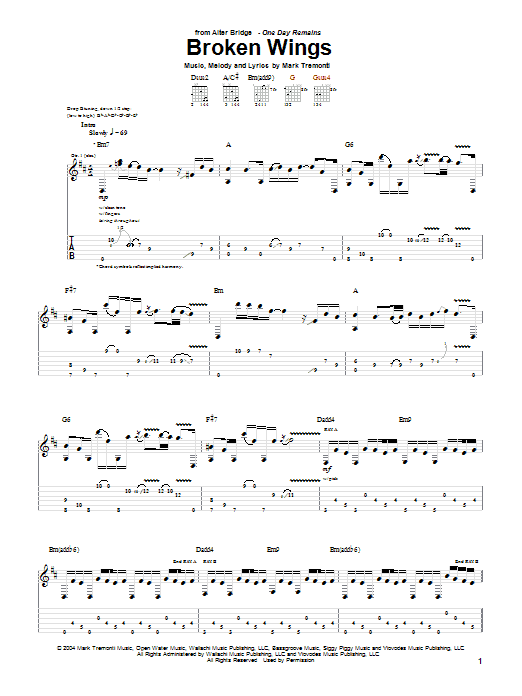 Tablature guitare Broken Wings de Alter Bridge - Tablature Guitare