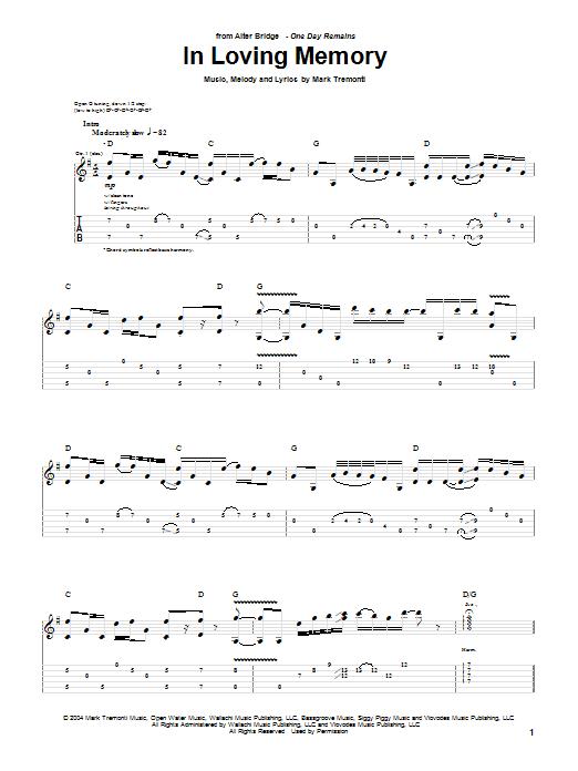Tablature guitare In Loving Memory de Alter Bridge - Tablature Guitare