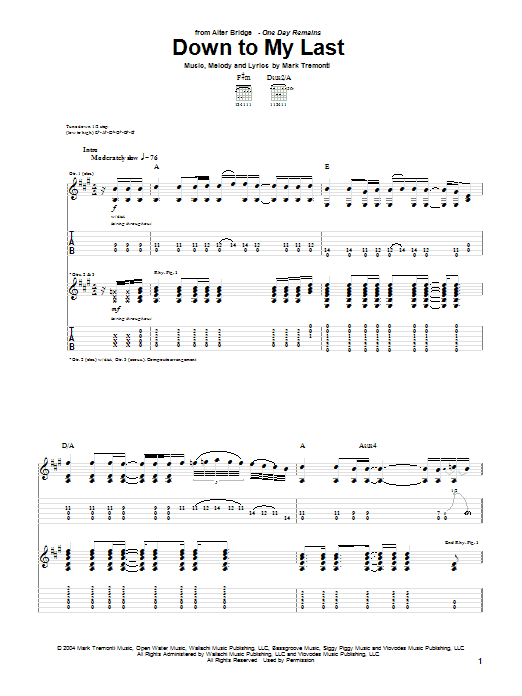 Tablature guitare Down To My Last de Alter Bridge - Tablature Guitare