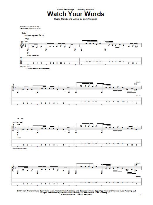 Tablature guitare Watch Your Words de Alter Bridge - Tablature Guitare