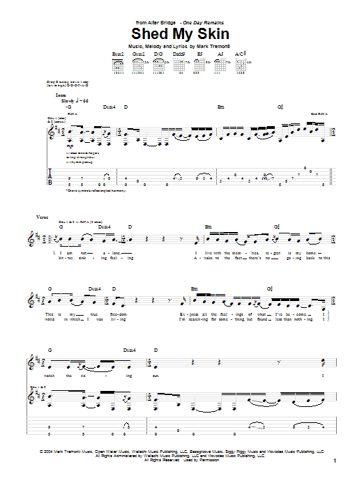 Tablature guitare Shed My Skin de Alter Bridge - Tablature Guitare