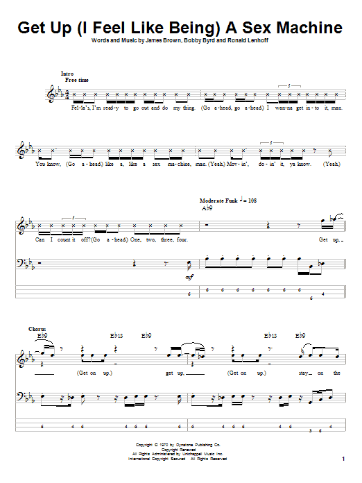Get Up (I Feel Like Being) A Sex Machine (COMPLETE) sheet music for bass (tablature) by Ronald Lenhoff
