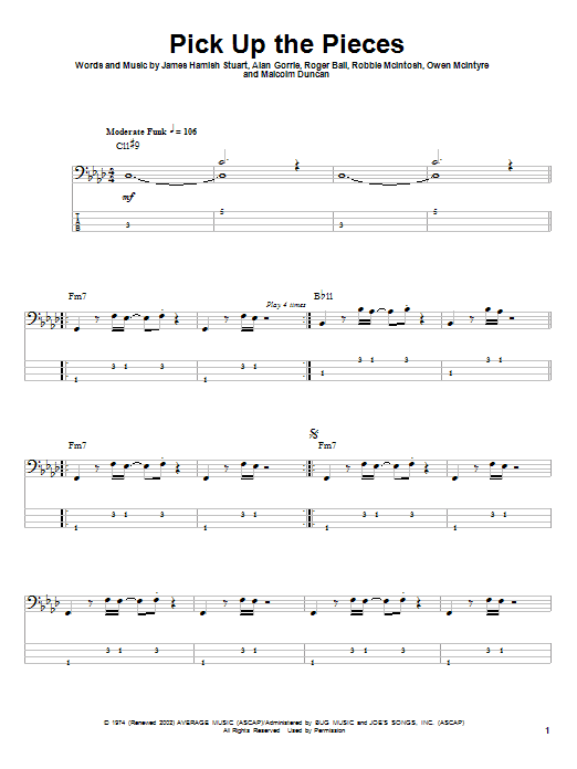 Tablature guitare Pick Up The Pieces de Average White Band - Tablature Basse