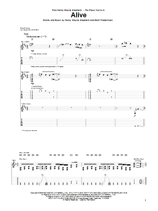 Alive sheet music for guitar solo (tablature) by Marti Frederiksen