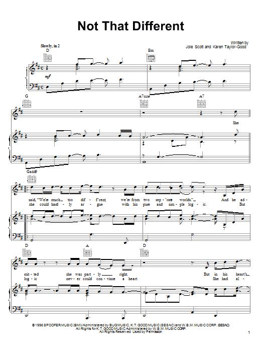 Partition piano Not That Different de Collin Raye - Piano Voix Guitare (Mélodie Main Droite)