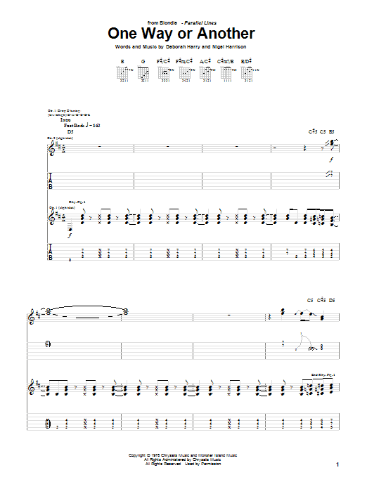 Tablature guitare One Way Or Another de Blondie - Tablature Guitare